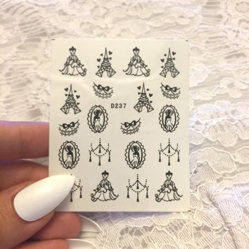Princess Nail Stickers, Princess Nail Decals, Nail Stickers, Women's Nail Accessories, Nail Decals, Cinderella Nail Stickers, Gift for Her