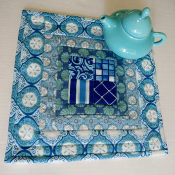Ocean Seaside Quilted Table Topper Mini Quilt Candle Mat Mug Rug Blues