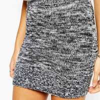 Story Of Lola Mini Knitted Skirt In Salt & Pepper Co-Ord