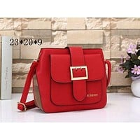Burberry Fashion Plaid Women Leather Shoulder Bag Crossbody Satchel Red