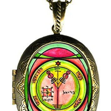 Solomons 4th Seal of Jupiter for Wealth & Honor Xl Solid Perfume Locket Gold Bronze