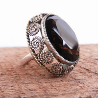 Chunky Brown Glass Statement Ring -  Vintage Size 7 Sterling Silver Jewelry / Filigree Swirls
