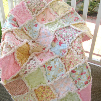 Sweet Baby Rag Quilt Large Crib Size Shabby Chic Dreamy Pastels Pink Mint Blue Yellow