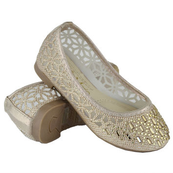 Kids Ballet Flats Lace Mesh Rhinestone Accent Casual Slip On Shoes Gold SZ