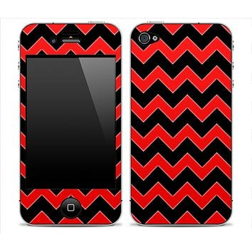 Black Chevron and Red Skin for the iPhone 3gs, 4/4s or 5
