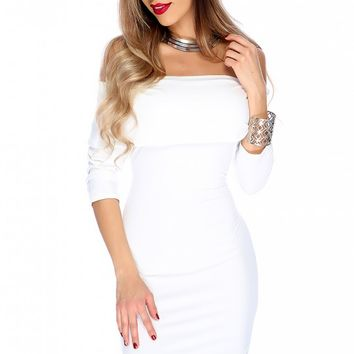 Sexy White Long Sleeve Off The Shoulder Bodycon Party Dress