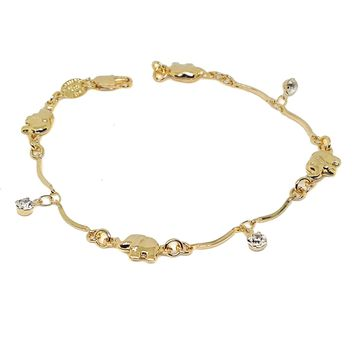 "(1-0704-h5) Gold Filled Elephant Bracelet with Crystal Charms, 7-1/2""."