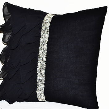 Black ruffled sequin throw pillow -18x18 Decorative Pillow -Black cushion cover -Gift Pillow - Crystal Pillow -Black silver seuin pillow