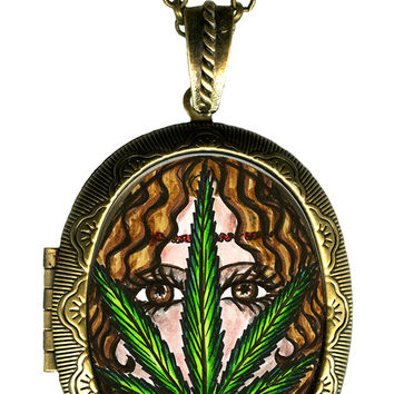 Bohemian Goddess Marijuana Big Locket Pendant Empty or Solid Perfume
