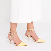MEDIUM HEEL LEATHER SHOES WITH DOUBLE ANKLE STRAP - View all-SHOES-WOMAN | ZARA United Kingdom