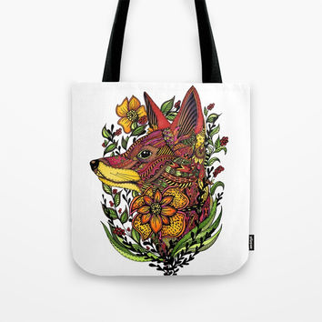 Red Fox Tote Bag by MIKART