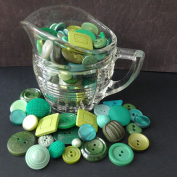 VINTAGE GREEN BUTTONS and 1940's glass milk jug, buttons date from 1950's-1990's