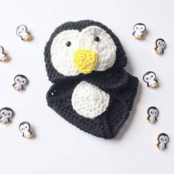 Crochet Pattern Baby outfit for pictures, Crochet Penguin baby outfit, newborn baby outfit for photos, Crochet pattern diaper cover, Beanie