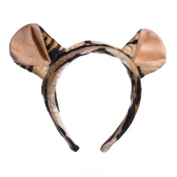 Wildlife Tree Plush Tiger Ears Headband Accessory for Tiger Costume, Cosplay, Pretend Animal Play or Safari Party Costumes