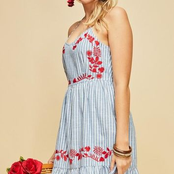 Striped Embroidered Sundress