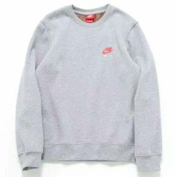 VXL8HQ NIKE Women/Men Fashion Long Sleeve Round Neck Pullover Sweater Sweatshirt Grey  G-A-BM-YSHY