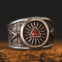 Masonic Red Stone Pyramid Silver Ring