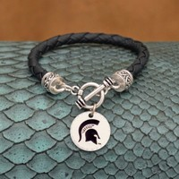 College Logo Leather Charm Bracelet