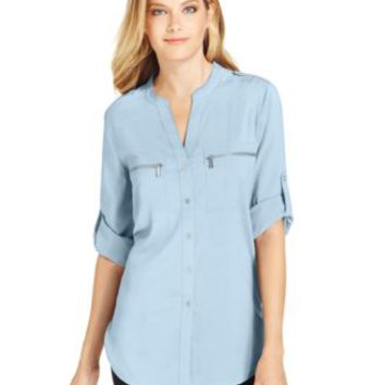 Calvin Klein Roll-Tab-Sleeve Zip-Pocket Blouse | macys.com