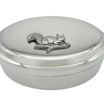 Squirrel on Branch Pendant Oval Trinket Jewelry Box