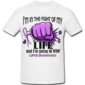 Lupus Awareness Shirts; I'm In The Fight Of My Life Cotton Crew Neck Tee