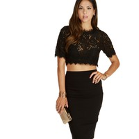 Black Linger Crochet Crop Top