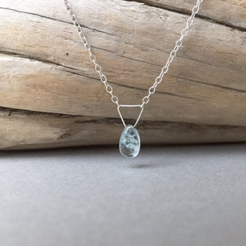 Teardrop Aquamarine Necklace, Delicate Minimalist Jewelry, March Birthstone, Ocean Beach Jewelry, Dainty Solitaire Necklace, Birthday Gifts