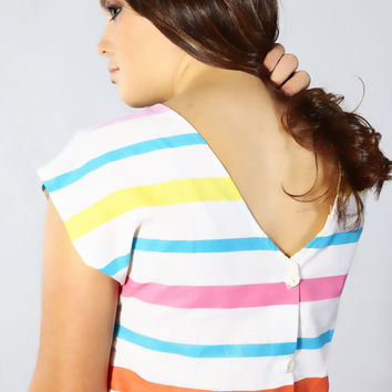 You Babes fritzi small cropped v-neck back button up white teal pink yellow stripes 80s hip hop new wave