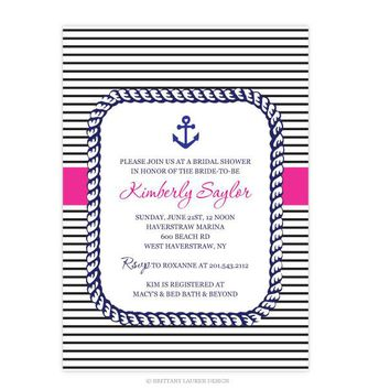 Preppy Collection - Wedding or Baby Party/Shower Invitations- Nautical Anchor Rope