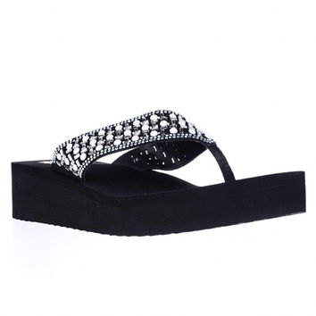 Yellow Box Blanc Wedge Embellished Flip Flops - Black White