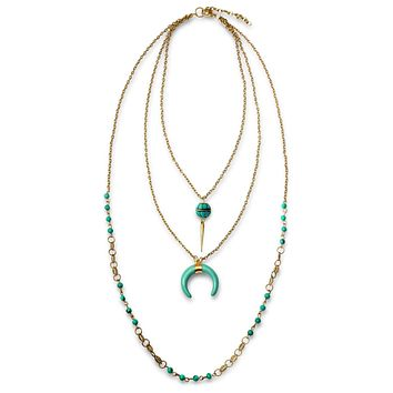Horn 3 Multi Layer Necklace 32in Turquoise Beads Gold Plated