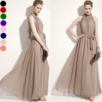 Chiffon Halter Maxi Dress