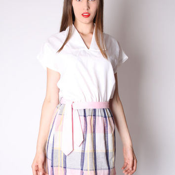 CYBER MONDAY SALE 50% Off Pastel Vintage Dress - Short Dress - Plaid Dress - Shirt Dress - 2880