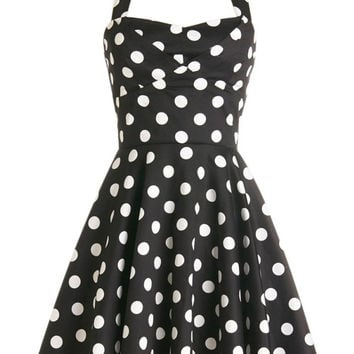 Black Polka Dot Halter Sheath Mini Skater Dress