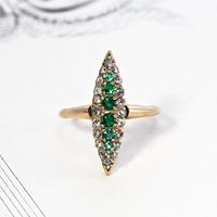 Victorian Diamond and Emerald Navette Ring, Antique 10k Yellow Gold Rustic Rose Cut Marquise, Alternative Bohemian Engagement, Cocktail Ring
