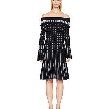 Prabal Gurung Viscose Knits Off the Shoulder Long Sleeve Dress