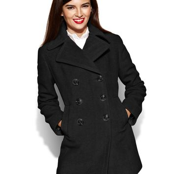 Kenneth Cole Reaction Petite Coat, Double-Breasted Wool-Blend Pea Coat