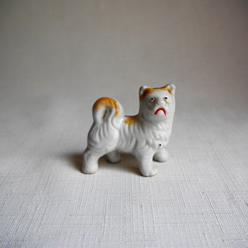 Miniature Ceramic Dog, Frowning Dog, White with Gold Accents, Fluffy Tail, Dollhouse Dog