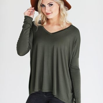 Bamboo V-Neck Long Sleeve Top- Army