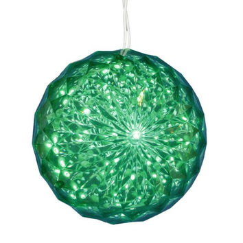 Crystal Sphere Ball Outdoor Decoration - Green Led Lighted