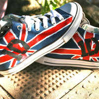 Painted One Direction Theme Shoes Converse, Woman's 8