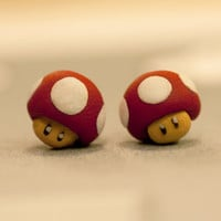 Nintendo Mario Mushroom Earrings by lizglizz on Etsy