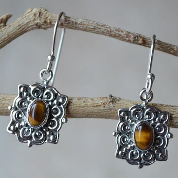 925 Sterling Silver Tiger Eye Gemstone Earring,Tiger Eye Earring,Silver eye earring,Tigers Eye Jewelry,Handmade Woman Boho Stone Earring New