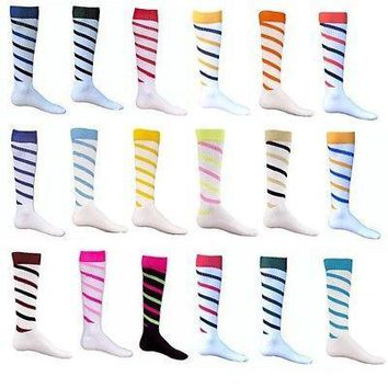 CYCLONE Two-Tone Spiral Stripe Patterned Acrylic Athletic Socks