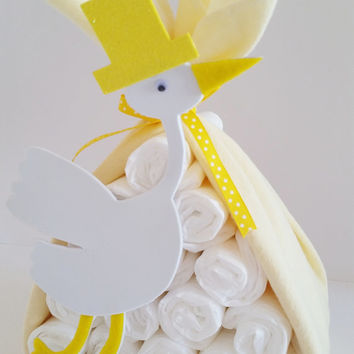 Stork Bundle Baby Shower Gift, Stork Baby Shower Center Piece, Baby Shower Decor, Gender Neutral Gift