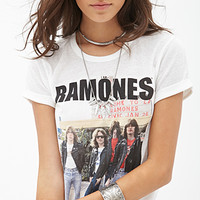 FOREVER 21 Ramones Knit Tee Cream/Black