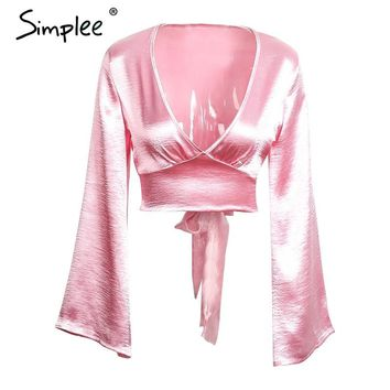 Simplee Flare sleeve satin blouse shirt Sexy deep v neck evening party red blouse women Glossy club blusas crop top 2016