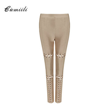 CIEMIILI 2017 Hollow Out Full Length Women Pants Elastic Waist Solid Fashion Skinny Evening Party Sexy Club Runway Pencil Pants