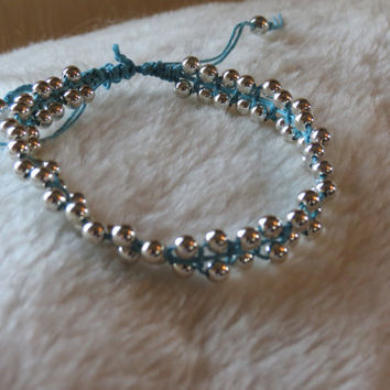 Silver beaded ankle bracelet by EmmaRiss on Etsy