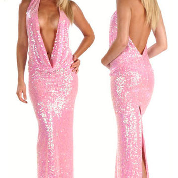 Sequin Evening Gown With Plunging Halter Neckline And Open Back